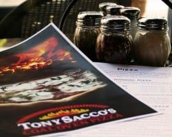 Tony Saccos pizza flyer